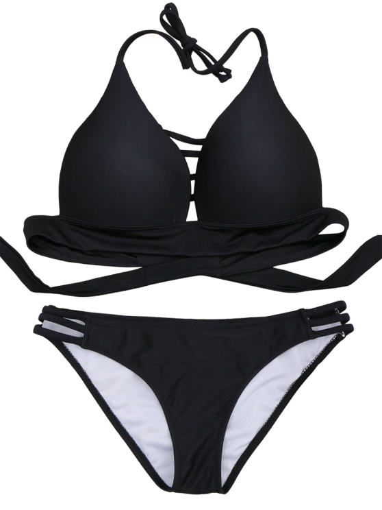 Fuller Bust Molded Cups Bikini Set - BLACK XL Mobile