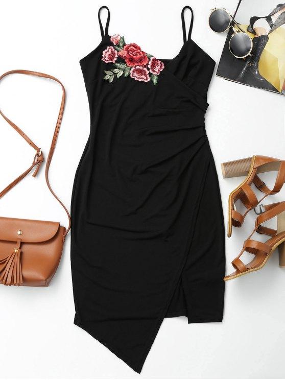 buy Floral Patched Asymmetrical Surplice Dress - BLACK M