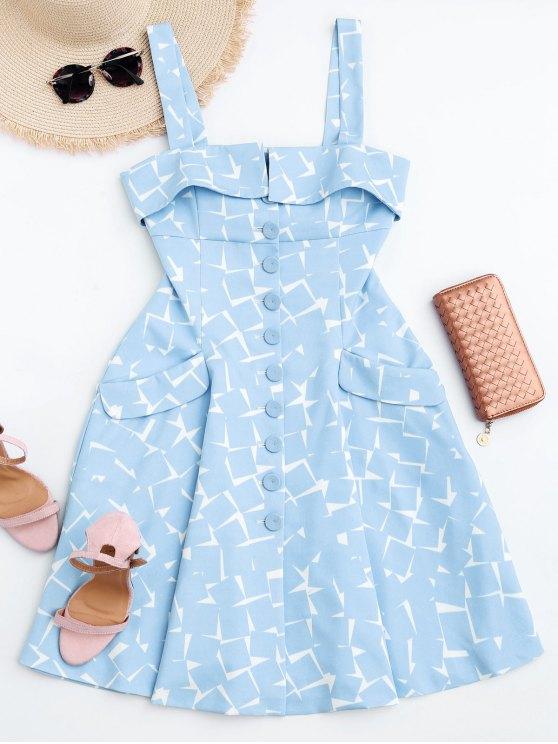 بوتون يصل هندسية فستان سطر - الضوء الأزرق M