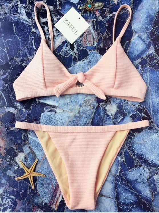 new Front Tied Textured Thong Bikini Set - PINK M