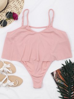 Cami Ribbed Ruffles Bodysuit - Pink S