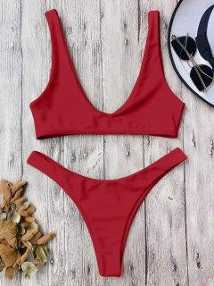 High Cut Scoop Bikini Set - Red M