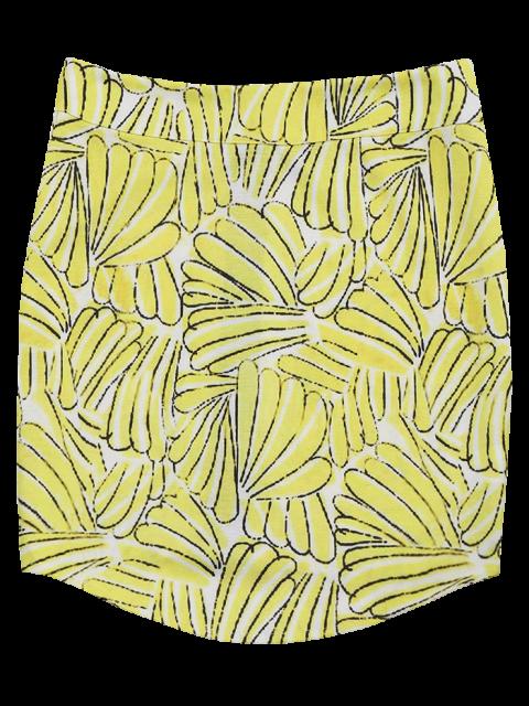 ladies Printed Zip Up A-Line Skirt - FLORAL M Mobile