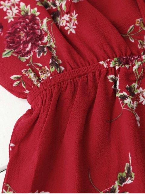latest Cold Shoulder Floral Cami Playsuit - RED S Mobile