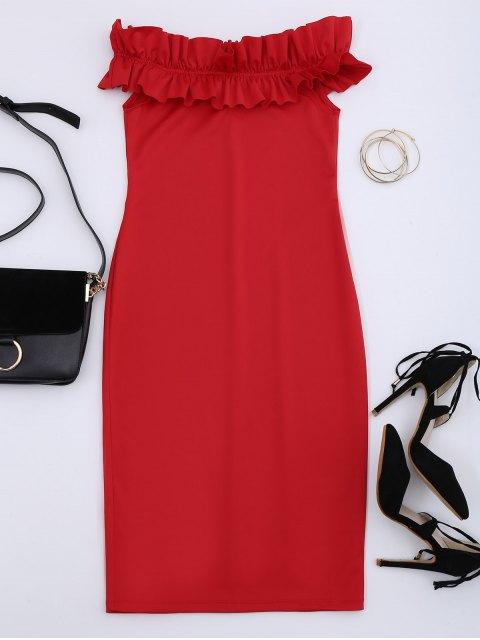 Robe collante à épaules tombantes avec falbalas - Rouge L Mobile