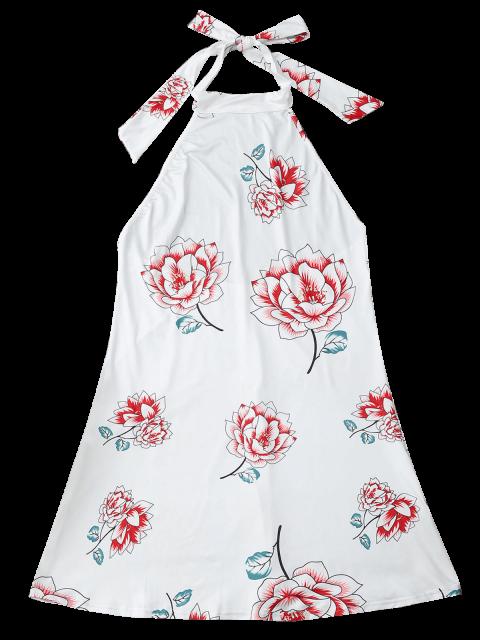 lady Halter Floral Open Back Dress - WHITE M Mobile