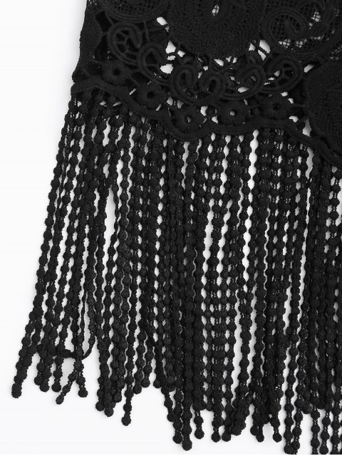 ladies Fringed Lace Beach Tank Top - BLACK ONE SIZE Mobile