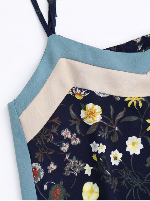 shop Floral Tank Top and Pants With Stripe - CADETBLUE XL Mobile