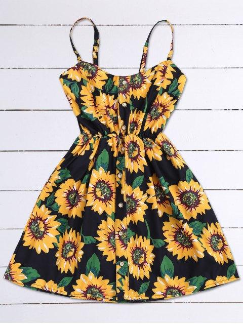 fashion Cami Smocked Floral Mini Dress - BLACK ONE SIZE Mobile