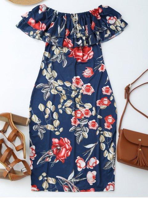 best Off Shoulder Ruffle Floral Sheath Dress - FLORAL S Mobile