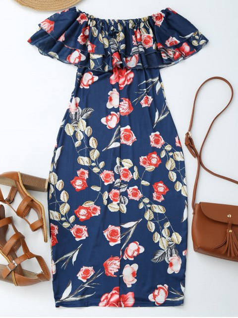 online Off Shoulder Ruffle Floral Sheath Dress - FLORAL M Mobile