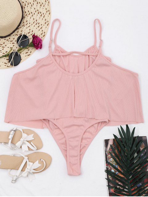outfit Cami Ribbed Ruffles Bodysuit - PINK XL Mobile