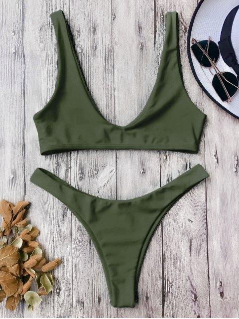 affordable High Cut Scoop Bikini Set - ARMY GREEN M Mobile