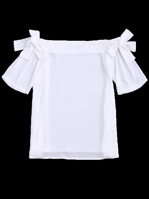 Bowknot Chiffon Off Shoulder Top WHITE : Tees M