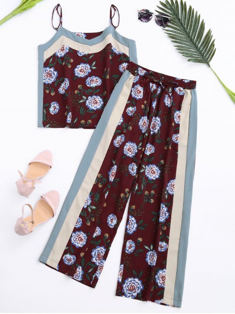 hot Floral Tank Top and Pants With Stripe - WINE RED L Mobile