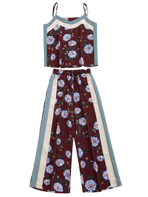 outfits Floral Tank Top and Pants With Stripe - WINE RED S Mobile
