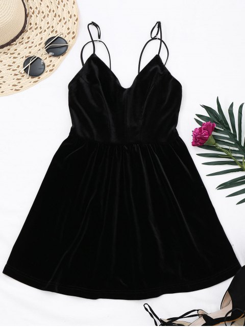 shop Criss Cross Strappy Slip Velvet Dress - BLACK 2XL Mobile