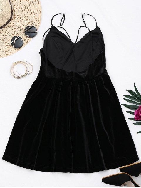 trendy Criss Cross Strappy Slip Velvet Dress - BLACK M Mobile