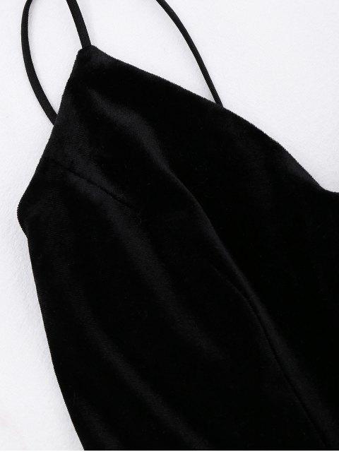 fashion Criss Cross Strappy Slip Velvet Dress - BLACK S Mobile