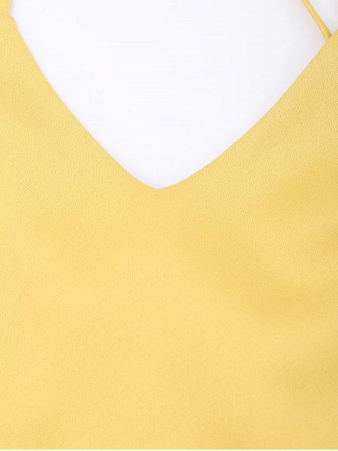sale Slip Bowknot Cut Out Mini Dress - YELLOW M Mobile