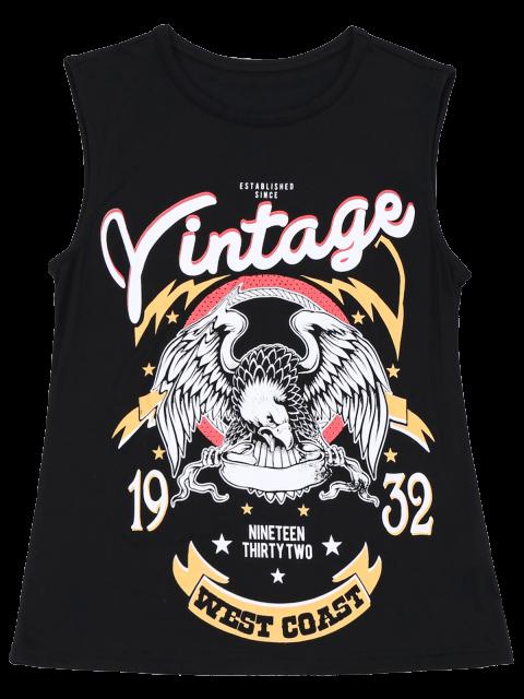 outfits Cotton Letter Totem Tank Top - BLACK L Mobile