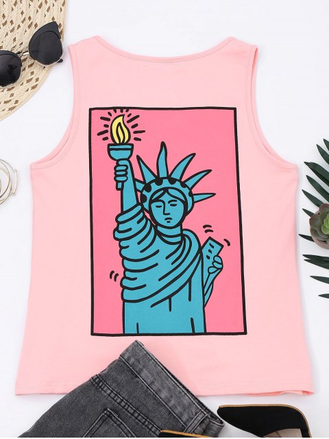 chic Printed Letter Embroidered Cotton Tank Top - PINK M Mobile