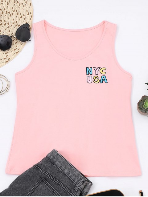 fancy Printed Letter Embroidered Cotton Tank Top - PINK S Mobile