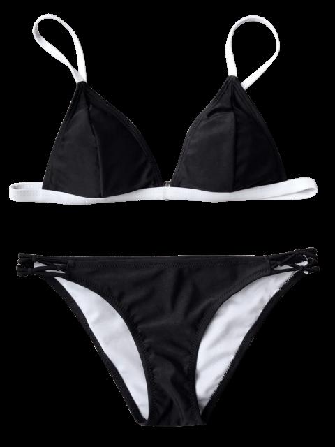 sale Two Tone String Bikini Top and Bottoms - BLACK M Mobile