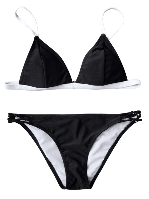 affordable Two Tone String Bikini Top and Bottoms - BLACK S Mobile