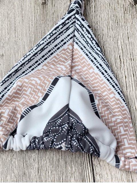 womens Chevron Mix Print String Bikini Set - WHITE L Mobile