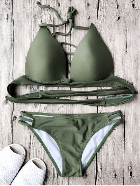 best Fuller Bust Molded Cup Bikini Set - ARMY GREEN L Mobile
