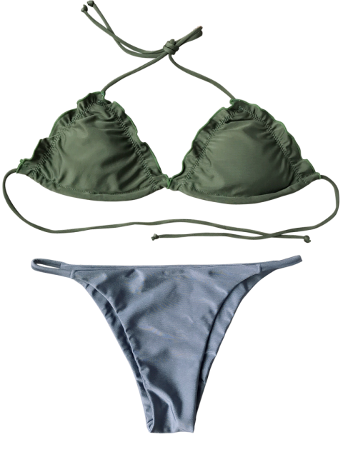 outfits Frilled Padded String Bikini Set - BLUE XL Mobile