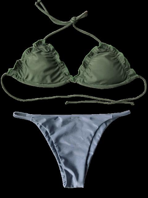 latest Frilled Padded String Bikini Set - BLUE S Mobile