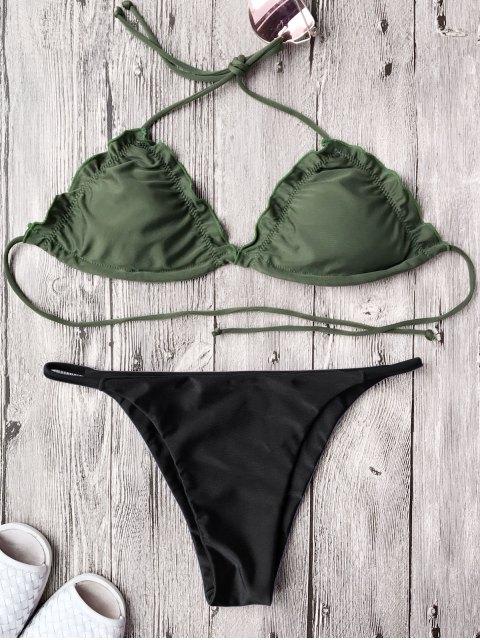 trendy Frilled Padded String Bikini Set - BLACK XL Mobile