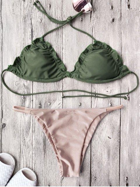 unique Frilled Padded String Bikini Set - PINK XL Mobile