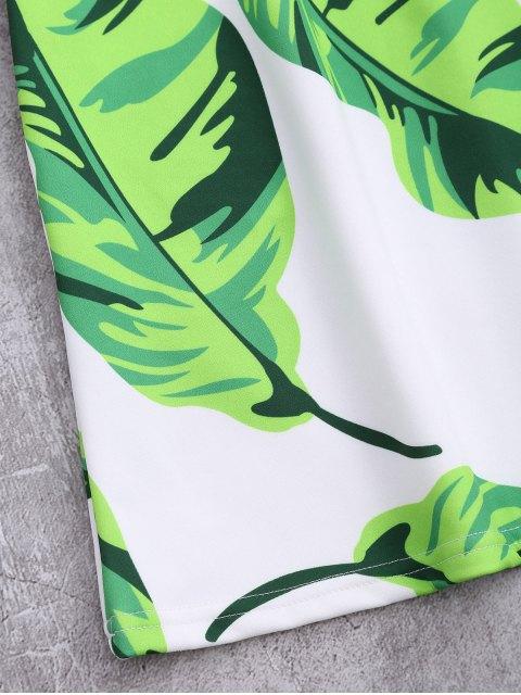 buy Sleeveless Tropical Leaf Print Dress - WHITE M Mobile