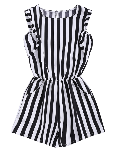 women Sleeveless Striped Romper With Pockets - STRIPE M Mobile