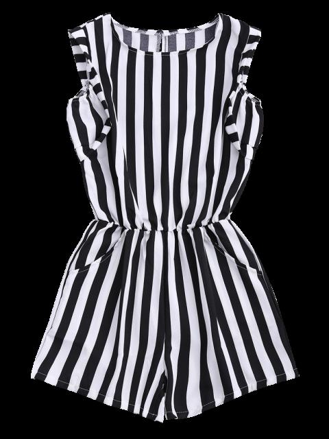 women's Sleeveless Striped Romper With Pockets - STRIPE L Mobile