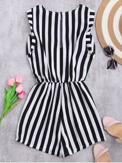 ladies Sleeveless Striped Romper With Pockets - STRIPE XL Mobile
