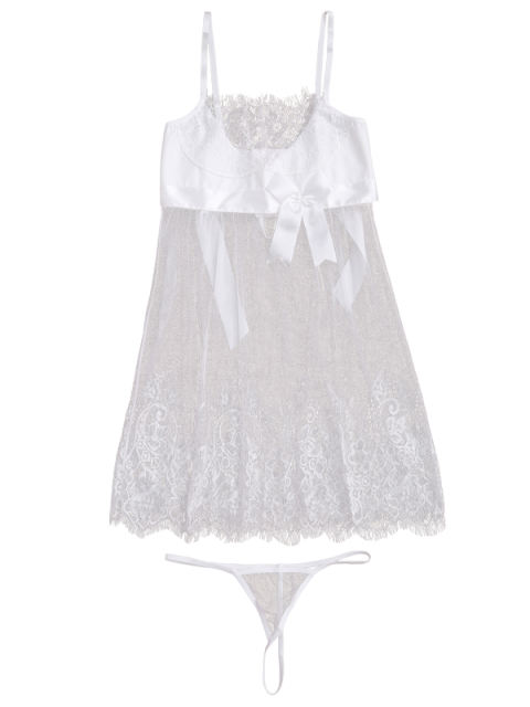 best Mesh Bowknot Lace Babydoll with Thong Panties - WHITE L Mobile
