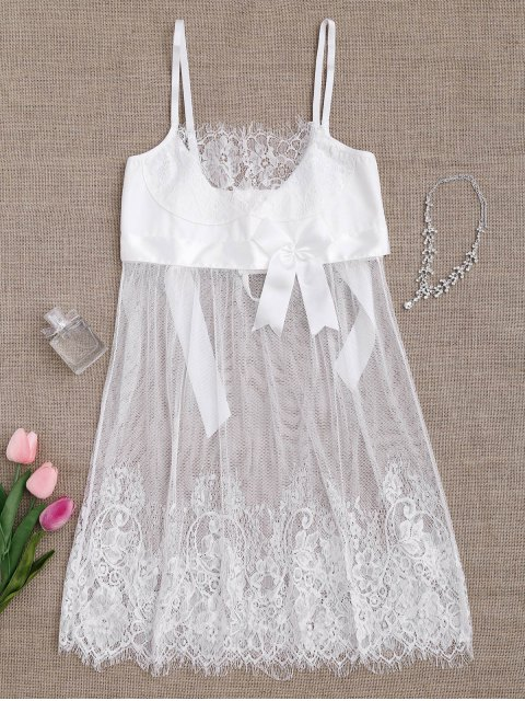 online Mesh Bowknot Lace Babydoll with Thong Panties - WHITE M Mobile