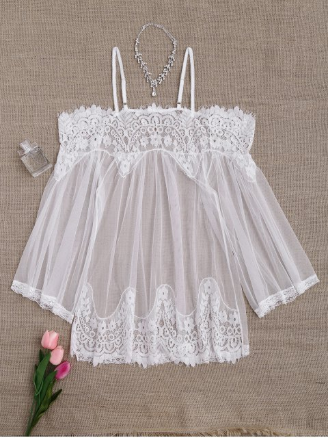 hot Mesh Cami Lace Panel Babydoll with Panties - WHITE ONE SIZE Mobile