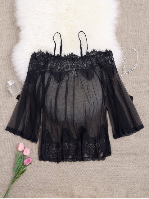 outfit Mesh Cami Lace Panel Babydoll with Panties - BLACK ONE SIZE Mobile