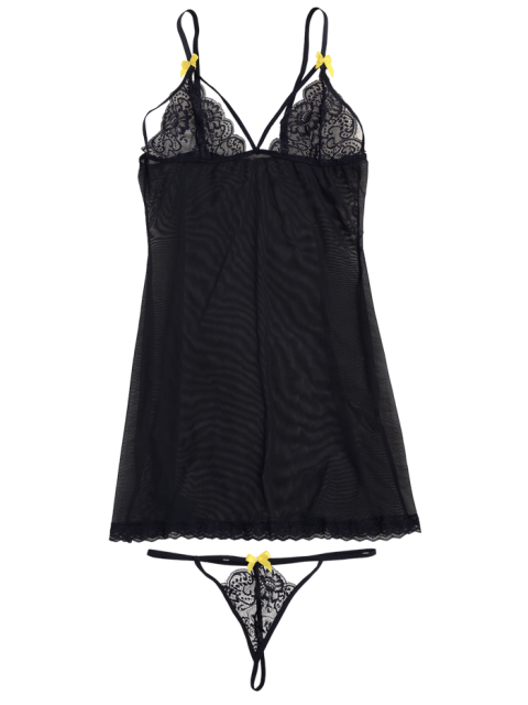 latest Mesh Lace Panel Babydoll with Thong Panties - BLACK S Mobile