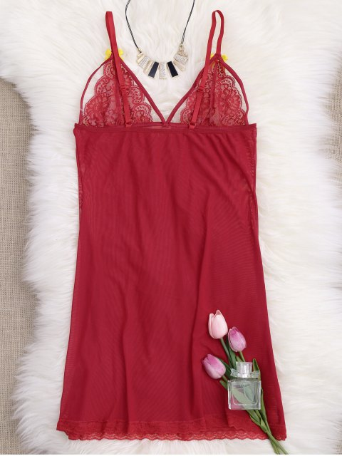 trendy Mesh Lace Panel Babydoll with Thong Panties - RED XL Mobile