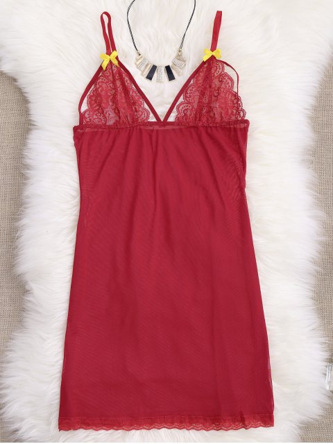 fashion Mesh Lace Panel Babydoll with Thong Panties - RED L Mobile