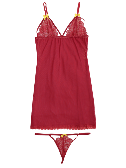 fancy Mesh Lace Panel Babydoll with Thong Panties - RED S Mobile