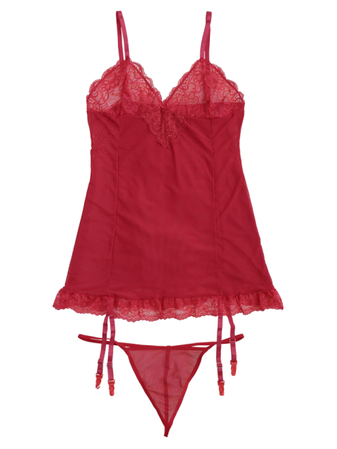 affordable Cami Lace Panel Babydoll with Thong Panties - RED M Mobile