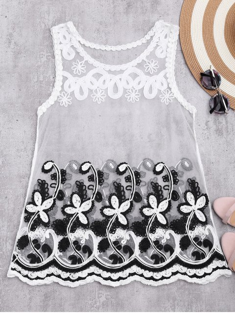 affordable Sheer Mesh Tank Top With Flower Pattern - WHITE ONE SIZE Mobile