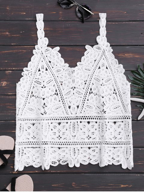 buy Hollow Out Lace Beach Tank Top - WHITE ONE SIZE Mobile